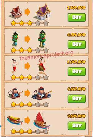 Coin Master Village 32: Thailand 4 Stars Price List