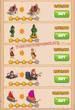 Coin Master Village 32: Thailand 5 Stars Price List