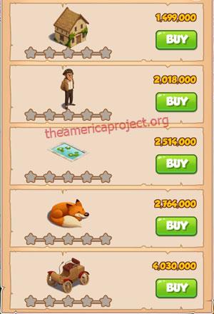 Coin Master Village 33: Coin Manor 1 Star Price List
