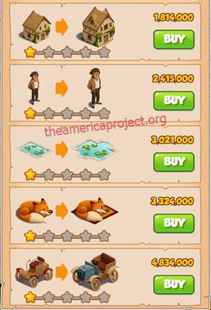 Coin Master Village 33: Coin Manor 2 Stars Price List