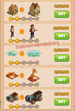 Coin Master Village 33: Coin Manor 3 Stars Price List