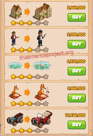 Coin Master Village 33: Coin Manor 4 Stars Price List