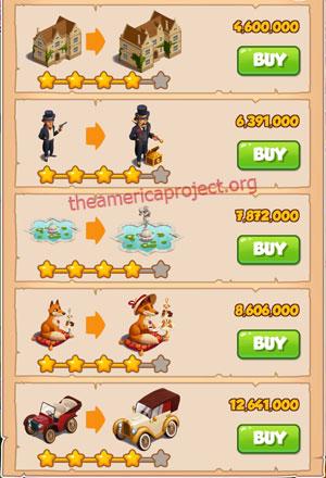 Coin Master Village 33: Coin Manor 5 Stars Price List