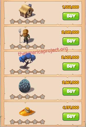 Coin Master Village 34: Dragon Lair 1 Star Price List