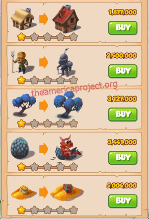 Coin Master Village 34: Dragon Lair 2 Stars Price List