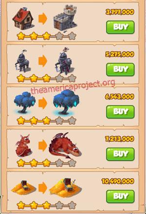 Coin Master Village 34: Dragon Lair 4 Stars Price List