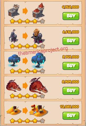 Coin Master Village 34: Dragon Lair 5 Stars Price List