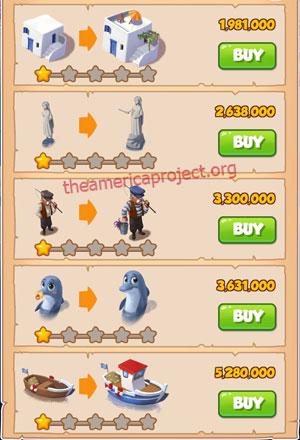 Coin Master Village 35: Greek Island 2 Stars Price List