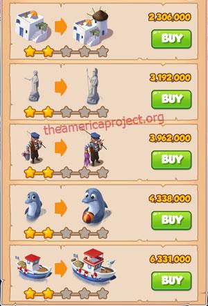 Coin Master Village 35: Greek Island 3 Stars Price List