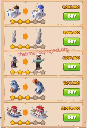 Coin Master Village 35: Greek Island 4 Stars Price List