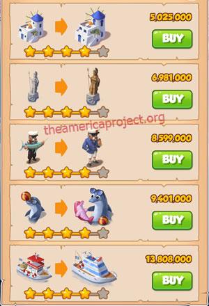 Coin Master Village 35: Greek Island 5 Stars Price List