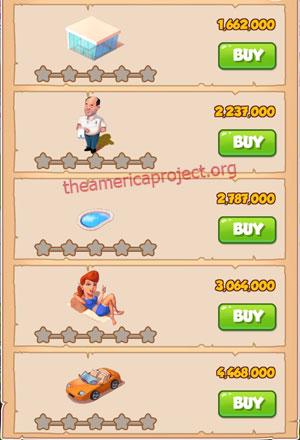 Coin Master Village 36: LA Dreams 1 Star Price List
