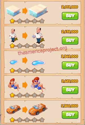 Coin Master Village 36: LA Dreams 2 Stars Price List