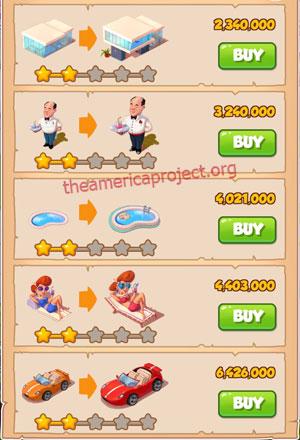 Coin Master Village 36: LA Dreams 3 Stars Price List