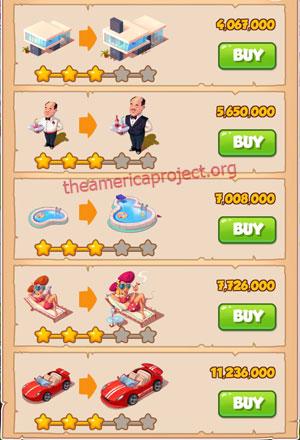 Coin Master Village 36: LA Dreams 4 Stars Price List