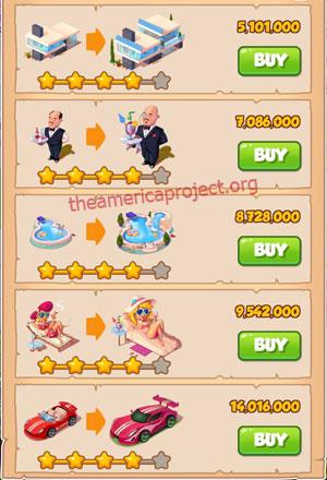 Coin Master Village 36: LA Dreams 5 Stars Price List