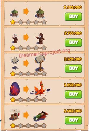 Coin Master Village 37: The Wizard 2 Stars Price List