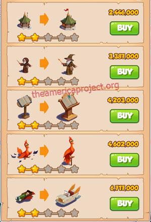 Coin Master Village 37: The Wizard 3 Stars Price List