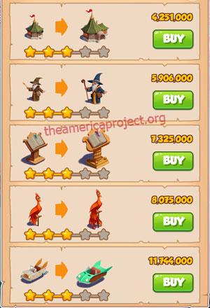 Coin Master Village 37: The Wizard 4 Stars Price List