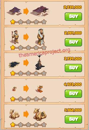 Coin Master Village 38: Oil Tyrant 2 Stars Price List