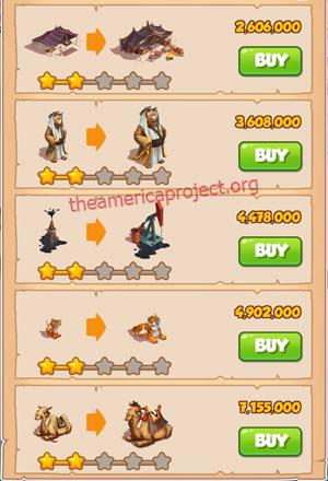 Coin Master Village 38: Oil Tyrant 3 Stars Price List