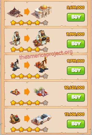 Coin Master Village 38: Oil Tyrant 5 Stars Price List