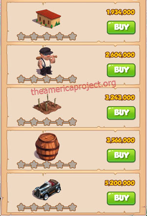 Coin Master Village 39: La Familia 1 Star Price List