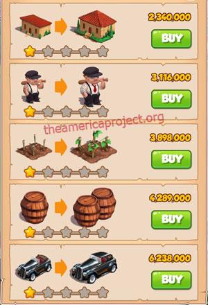 Coin Master Village 39: La Familia 2 Stars Price List