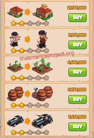 Coin Master Village 39: La Familia 3 Stars Price List