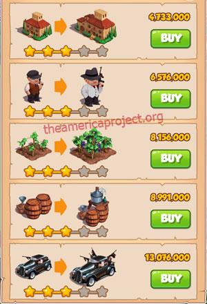 Coin Master Village 39: La Familia 4 Stars Price List