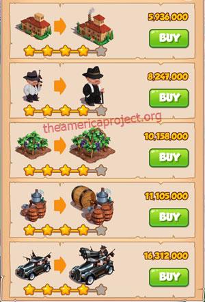 Coin Master Village 39: La Familia 5 Stars Price List