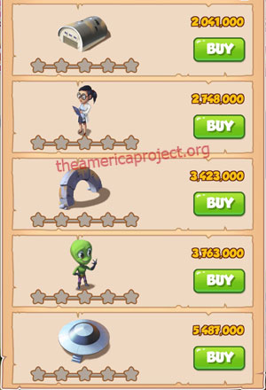 Coin Master Village 40: Area 51 1 Star Price List