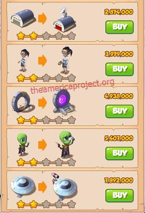 Coin Master Village 40: Area 51 3 Stars Price List