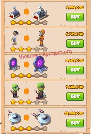 Coin Master Village 40: Area 51 4 Stars Price List
