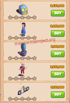 Coin Master Village 41: Night of the Dead 1 Star Price List