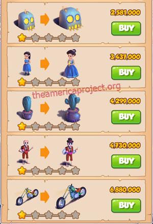 Coin Master Village 41: Night of the Dead 2 Stars Price List