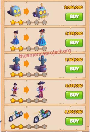 Coin Master Village 41: Night of the Dead 3 Stars Price List