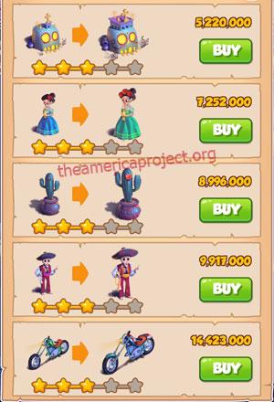 Coin Master Village 41: Night of the Dead 4 Stars Price List