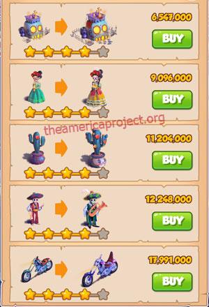 Coin Master Village 41: Night of the Dead 5 Stars Price List