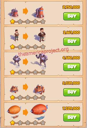 Coin Master Village 42: Steampunk Land 2 Stars Price List