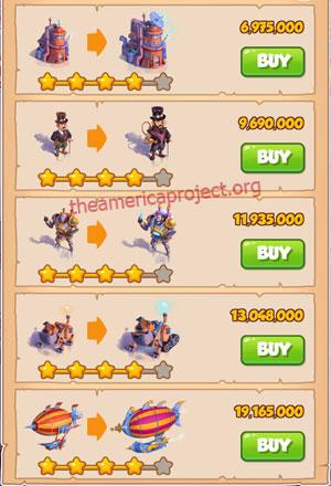 Coin Master Village 42: Steampunk Land 5 Stars Price List