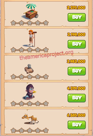 Coin Master Village 43: The Zoo 1 Star Price List