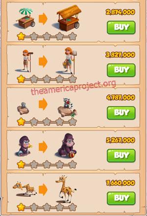 Coin Master Village 43: The Zoo 2 Stars Price List