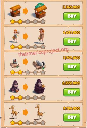 Coin Master Village 43: The Zoo 3 Stars Price List