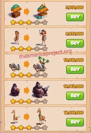 Coin Master Village 43: The Zoo 4 Stars Price List