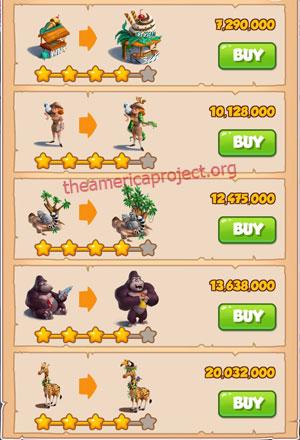 Coin Master Village 43: The Zoo 5 Stars Price List