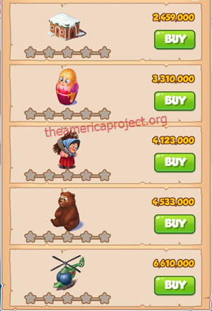 Coin Master Village 44: Russia 1 Star Price List