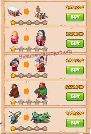Coin Master Village 44: Russia 2 Stars Price List