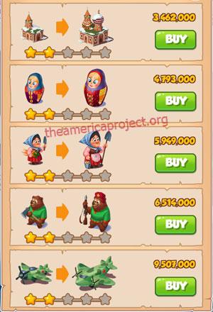 Coin Master Village 44: Russia 3 Stars Price List
