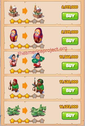 Coin Master Village 44: Russia 4 Stars Price List